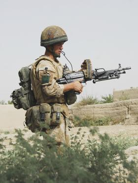 3 PARA soldier on patrol with a Light Machine Gun, Musa Quelah, Afghanistan, 2008