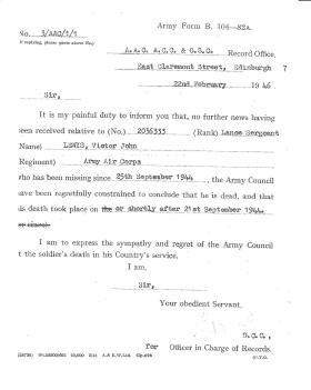 Letter to Lance Sergeant Lewis' father, informing him of his presumed death, 22 February 1946.