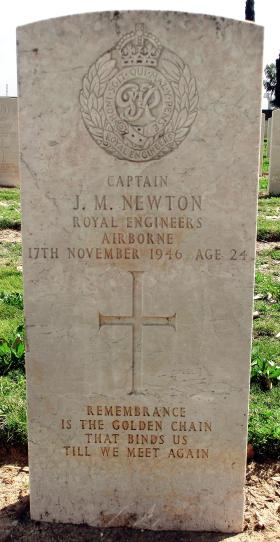 Grave of Capt John M Newton, Ramleh War Cemetery, Israel, 2015.