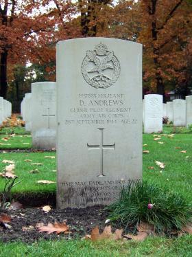 Headstone of Sgt D Andrews, Oosterbeek War Cemetery, October 2015.