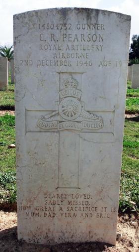 Grave of Gnr Cyril R Pearson, Ramleh War Cemetery, Israel, 2015.