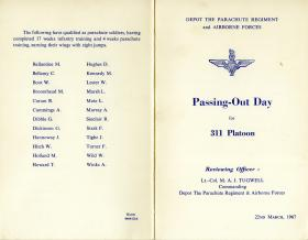Programme for Passing Out Day for 311 Platoon, March 1967.
