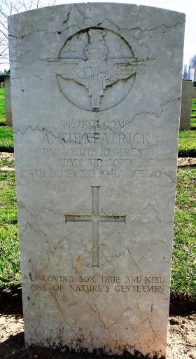 Grave of CQMS Adam Kirkpatrick, Ramleh War Cemetery, Israel, 2015.