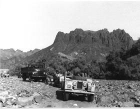 C Troop, 33rd Para Light Regt RA traverse the Dhala Pass, Radfan, 1957.