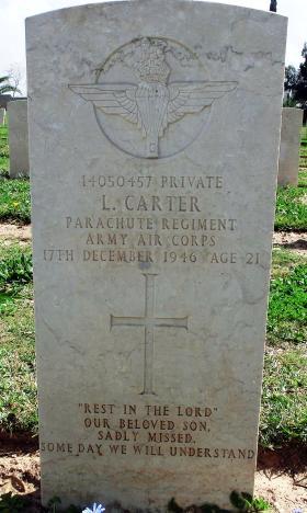 Grave of Pte Leslie Carter, Ramleh War Cemetery, Israel, 2015.