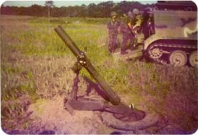 The 4.2-inch mortar of A Coy 4 PARA Mortars on exercise, Minnesota, 1983