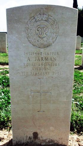 Grave of Spr A Jarman, Ramleh War Cemetery, Israel, 2015.