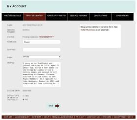 7. My Account, The main biography section screen.