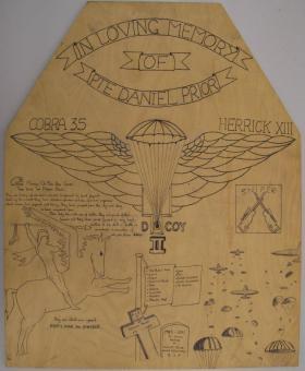Memorial Board to Pte Dan Prior