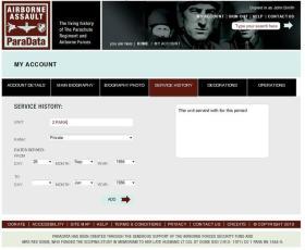 9. My Account, Service History screen.