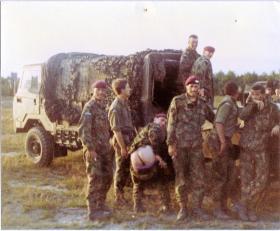 Pte Lee Crichton and A Coy, 4 PARA Mortars take a break on exercise, 1980s