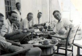 3 PARA Officers at Harbor Club, Kyrenia, Cyprus, 1951.