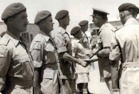 3 PARA Officers during visit by GOC Canal Zone to Cyprus 1951.
