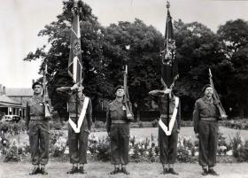 3 PARA's Colour Party for the Presentation of The Parachute Regiment's first Colours, Aldershot 19 July 1950.