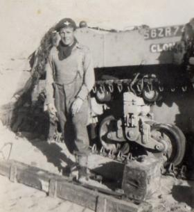 Bill Copinger-Symes in the desert with his tank Clonmel, Suez 1952.