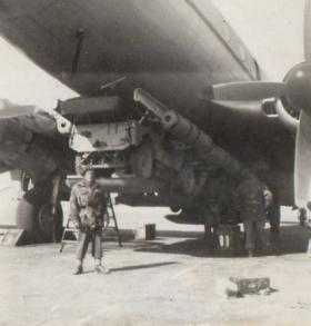 A Hastings aircraft with Jeeps attached for dropping, Suez 1953.