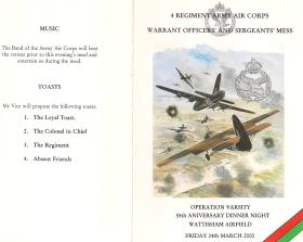 4 Regt AAC Op Varsity Commemorative Dinner Menu Cover, 2000