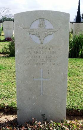 Grave of Pte A Morrison, Ramleh War Cemtery, Israel, 2015.