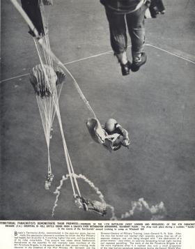 Members of 11 PARA (TA) jumping onto Netheravon airfield, 1949