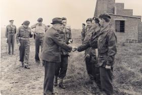 'Manny' Shinwell, War Minister, meeting officers of 16th Airborne Div REME at 4th Bde Group Annual Camp, Aug 1949