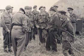 'Manny' Shinwell, War Minister, during a visit to 4th Parachute Brigade Annual Camp, August 1949