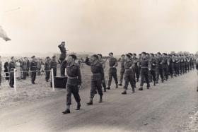 Members of 16th Airborne Division REME (TA) march past during Annual Camp 1949