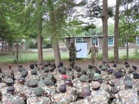 The Royal Irish Regiment train East African troops for operations.