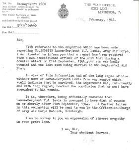 Letter to Lance Sergeant Lewis' father informing him of the circumstances of his sons death, 18 February 1946.
