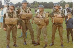 Members of 4 PARA prior to balloon jump, Soldiers' Field Leeds, 1971.