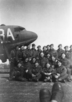 4 Platoon B Company 8th Battalion just before take off for Rhine Crossing, 1945.