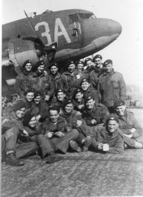 Men from 4 Platoon B Company 8th Battalion before take off for Rhine Crossing. 1945