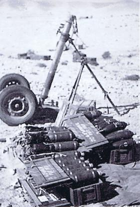 4.2 inch mortar and ammunition from Live Firing Camp, Asluj, Palestine