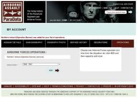 12. My Account, Operations screen.