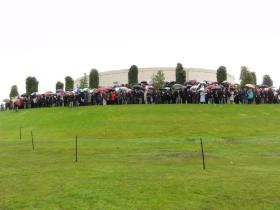 Guests and veterans attending the dedication ceremony of the Airborne Forces Memorial at the NMA 13 July 2012