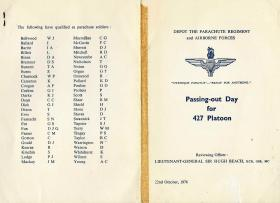 Programme for Passing Out Day for 427 Platoon, 22 October 1976.