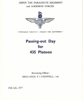 Programme for 435 Platoon's Passing Out Parade, 15 July 1977.
