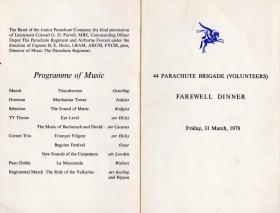 Menu card for 44 Parachute Brigade (Volunteers) Farewell Dinner, 31 March 1978.