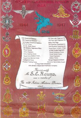 44 / 2nd Indian Airborne Division Old Comrades Association Certificate