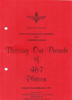 467 Platoon Passing Out Parade Booklet 20 February 1981.