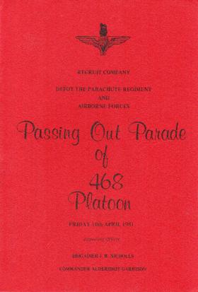 468 Platoon Passing Out Parade Booklet 10 April 1981