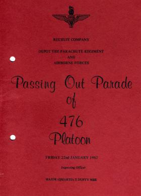 476 Platoon Passing Out Parade 22 January 1982