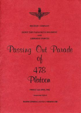 478 Platoon Passing Out Parade Booklet 2 March 1982