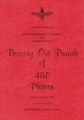 480 Platoon Passing Out Parade Booklet 16 July 1982