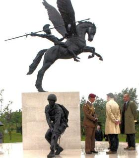 HRH Prince of Wales talks to the sculptors of the National Memorial at the NMA, 13 July 2012.