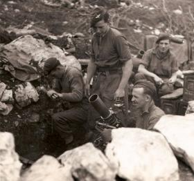 Members of Mortar Platoon, 4th Parachute Battalion at Cassino, Italy, April 1944.