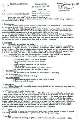 HQ 4 Para Brigade report on organisation, equipment and tactics during Arnhem.