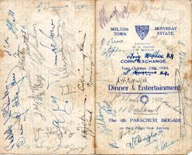 Menu card signed by members of 4th Para Bde who returned from Arnhem, 24 October 1944.