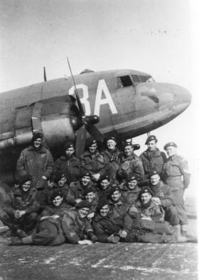5 Platoon B Company 8 Battalion shortly before take off for Rhine Crossing, 1945