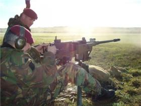Steve Kinsella firing the 50 Cal HMG on a training exercise, 2008.