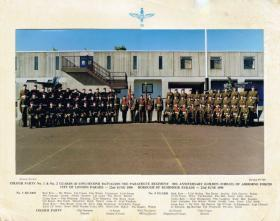 Colour Party No 1 and No 2 Guards, D Coy, 2 PARA, 50th Anniversary photo, Red Square Aldershot, 1990.